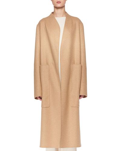 Paret Open-Front Wool-Cashmere Coat w/ Patch Pockets