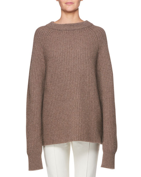 Connor Crewneck Long-Sleeve Cashmere Top in Brown