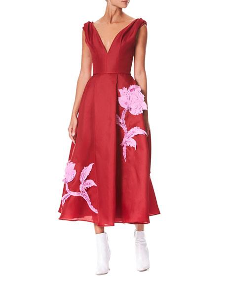 Carolina Herrera V-Neck Sleeveless Floral-Embroidered Tea-Length