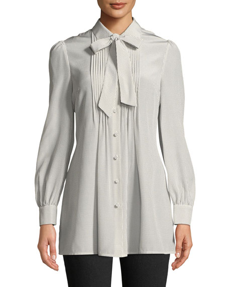 Tie-Neck Long-Sleeve Pleated-Bib Silk Tunic Blouse
