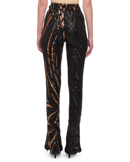 Sequin Striped Two-Tone Skinny Pants