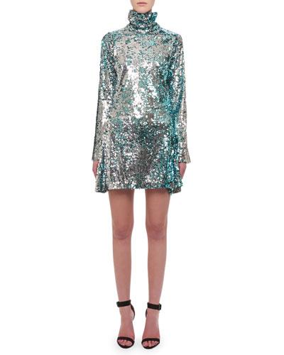 Turtleneck Long-Sleeve Sequin Cocktail Dress