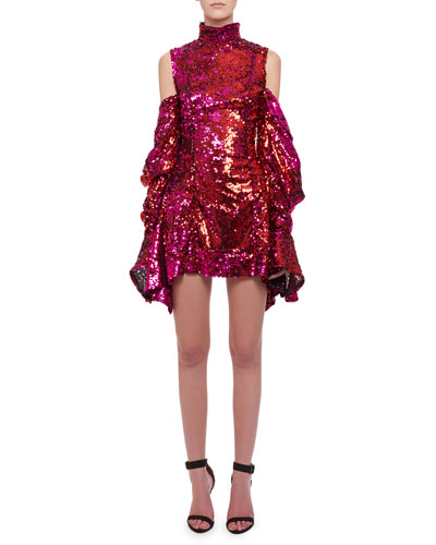 Turtleneck Cold-Shoulder Draped-Sleeve Sequin Cocktail Dress