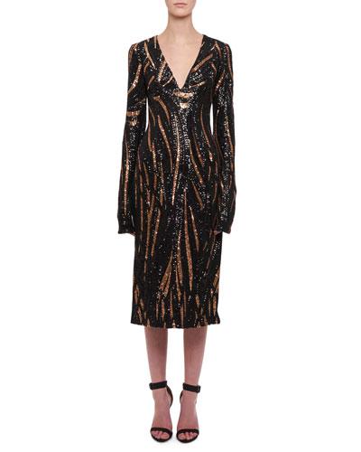 Long-Sleeve V-Neck Sequin Slit Midi Dress