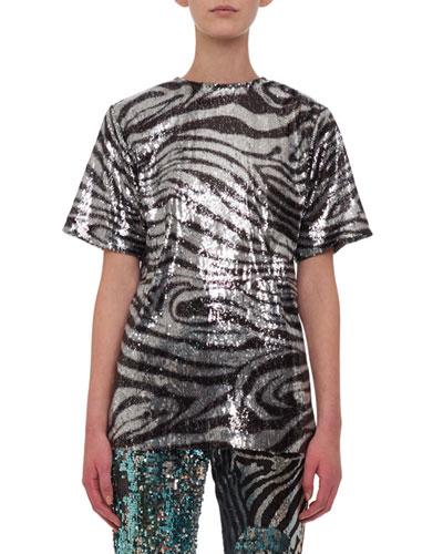 Crewneck Short-Sleeve Zebra-Print Sequin Tee