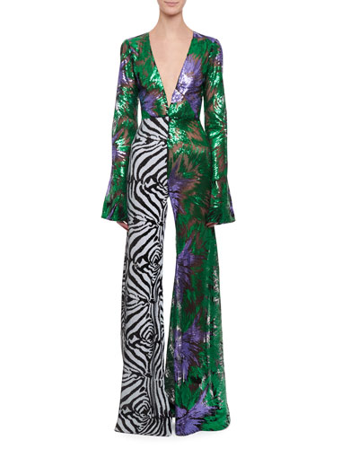 Deep-V Bell-Sleeve Abstract Floral & Zebra Sequin Flared-Leg Jumpsuit