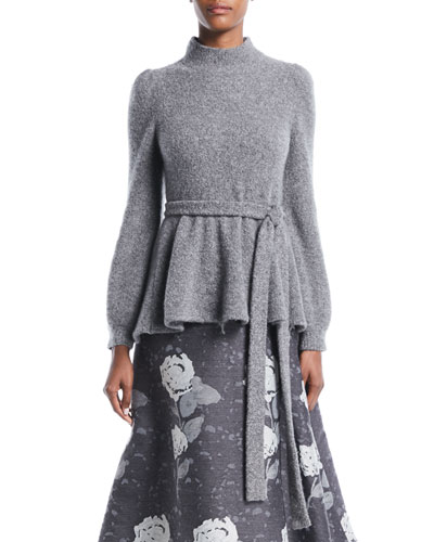 Mock-Neck Bell-Sleeve Tie-Waist Crepe Cashmere Knit Sweater