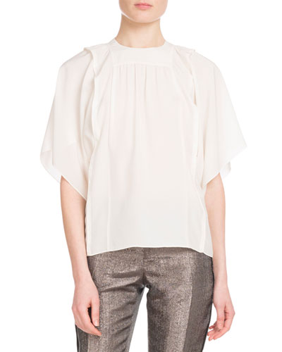 Crewneck Flutter-Sleeve Silk Blouse