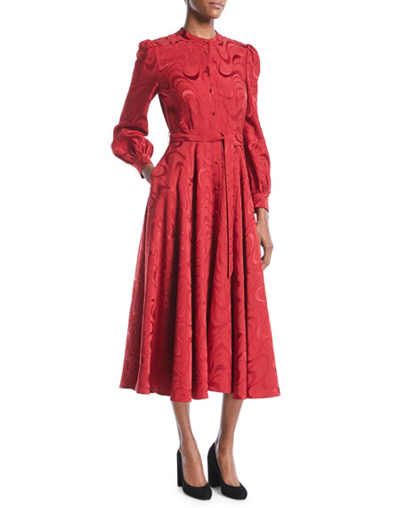 Co Button-Down Long-Sleeve Spiral-Jacquard Midi Dress