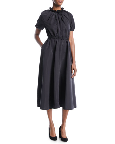 Ruched Mock-Neck Short-Sleeve Belted Faille Midi Cocktail Dress with Pockets