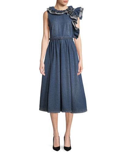 Sleeveless Ruffle-Shoulder A-Line Denim Dress