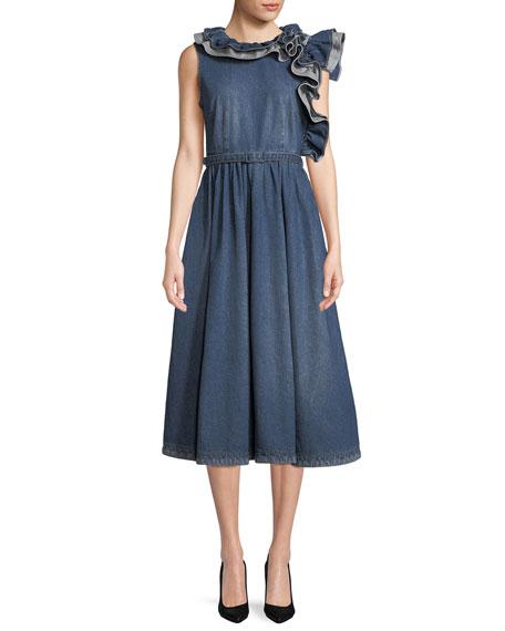 Co Sleeveless Ruffle-Shoulder A-Line Denim Dress
