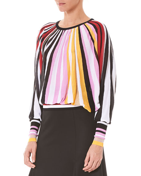Crewneck Long-Sleeve Pleated Knit Blouse
