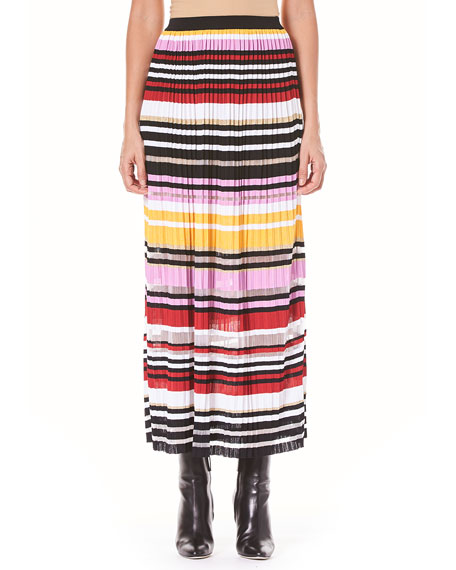 Striped Pleated Knit A-Line Maxi Skirt
