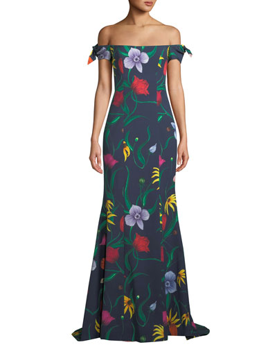 Off-the-Shoulder Bow-Straps Floral-Print Trumpet Evening Gown