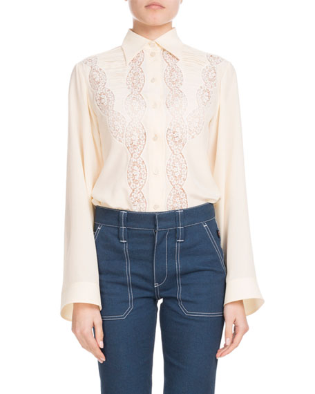 Long-Sleeve Button-Down Silk Shirt with Lace