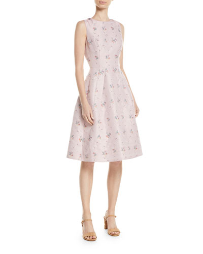 Sleeveless Fit-and-Flare Floral-Embroidered Dress