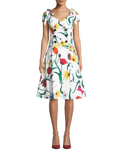 Off-the-Shoulder Floral Fit-and-Flare Daytime Dress
