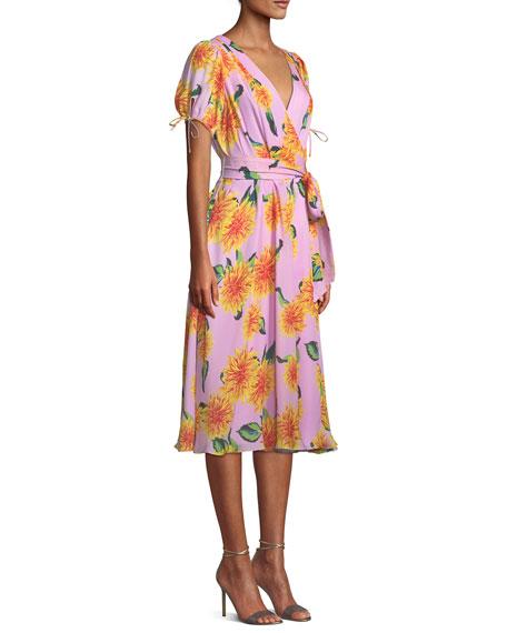 V-Neck Short-Sleeve Floral-Print Silk Wrap Dress