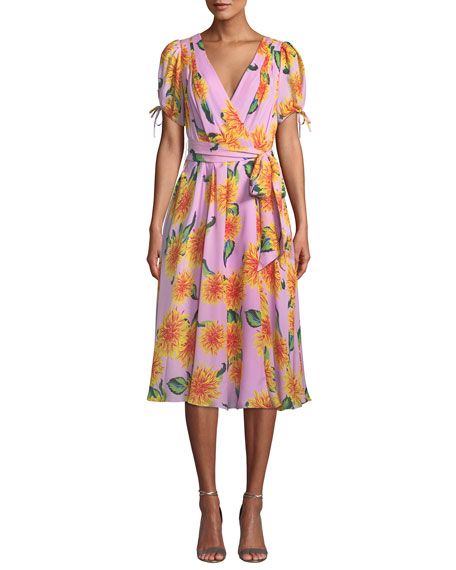 V-NECK SHORT-SLEEVE FLORAL-PRINT SILK WRAP DRESS