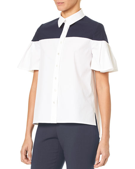 Flutter-Sleeve Button-Down Cotton Blouse
