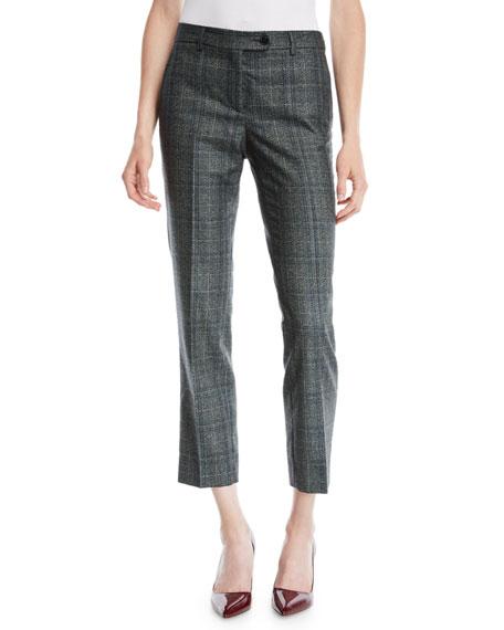 Kiton Plaid Skinny Ankle Cashmere-Blend Pants
