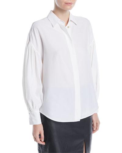 Balloon-Sleeve Button-Front Silk Blouse