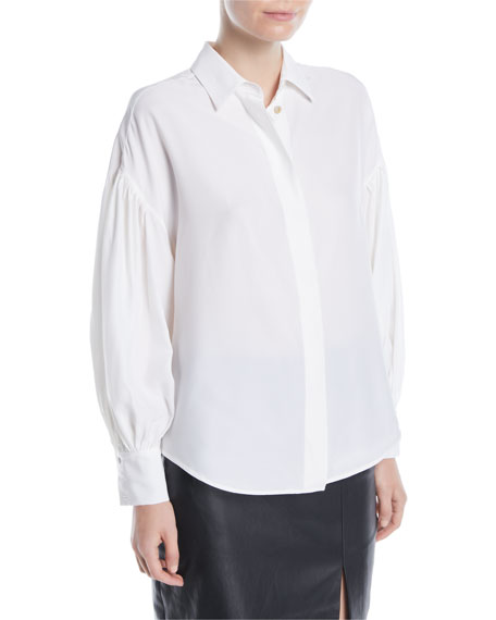 Balloon-Sleeve Button-Front Silk Blouse