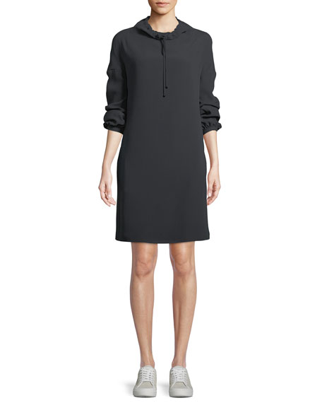 Abbie High-Neck Long-Sleeve Short Silk Shift Dress