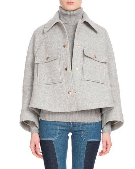 CHLOÉ Snap-Front Two-Pocket Wool-Blend Jacket, Gray