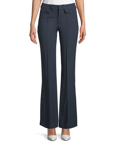 Two-Pocket Mid-Rise Flared-Leg Pants
