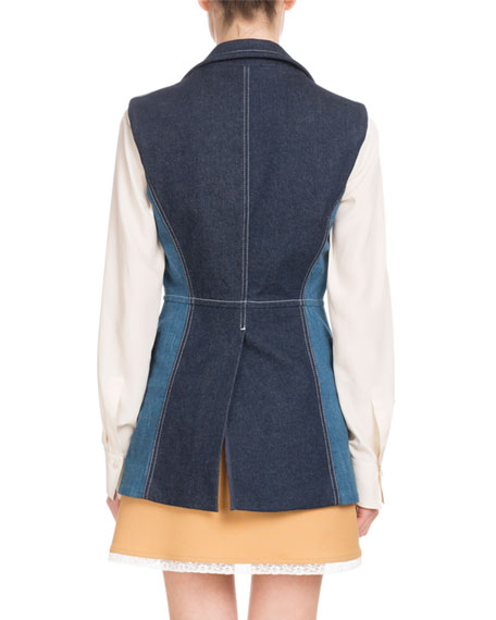 Peak-Lapel Two-Pocket Denim Vest