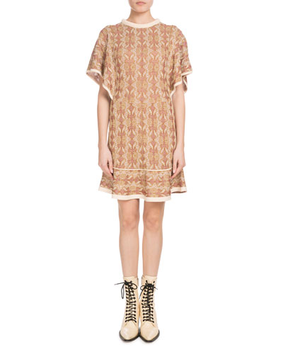 Short-Sleeve Knit Crewneck Jacquard-Woven Short Dress