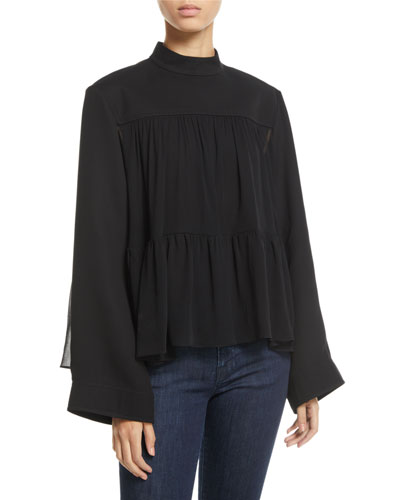 Mock-Neck Long-Sleeve Swing Top