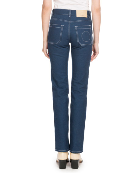 Straight-Leg Jeans with Contrast Topstitching