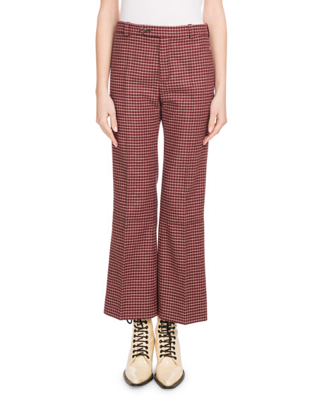 Cropped Checked Wool-Blend Wide-Leg Pants in Black Red