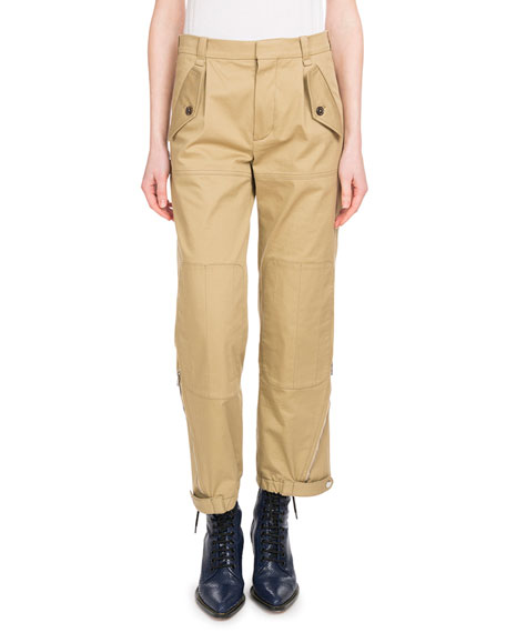 Cropped Cotton-Blend Gabardine Tapered Pants in Green