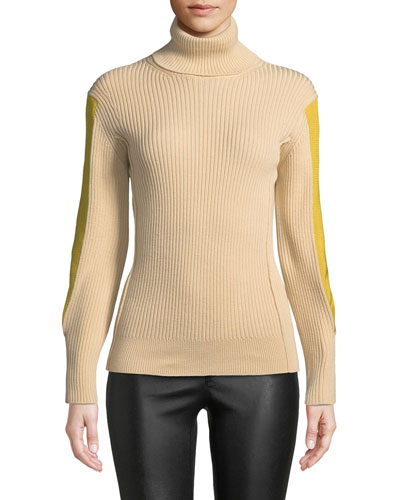 Turtleneck Contrast Stripe Long-Sleeve Ribbed Wool Sweater
