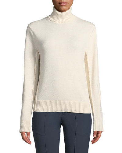 Long-Sleeve Turtleneck Ribbed Cashmere Sweater