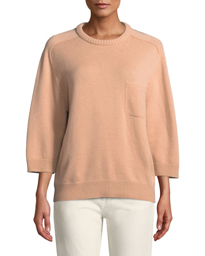 Crewneck Bracelet-Sleeve One-Pocket Cashmere Sweater