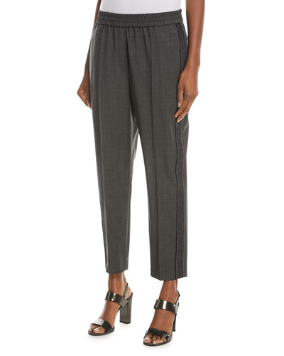 Wool Pull-On Pants with Denim and Monili Racing Stripe