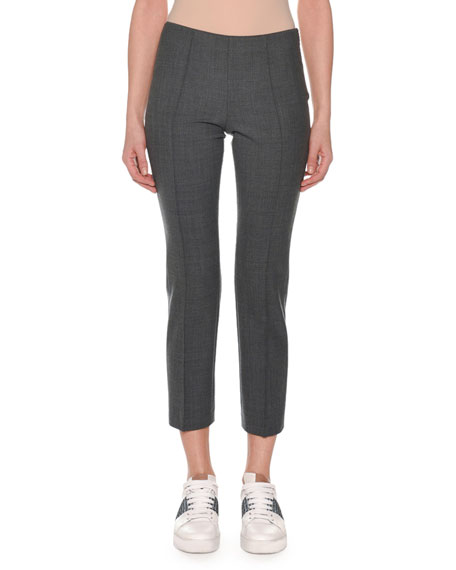 AGNONA Flat-Front Straight-Leg Ankle Pants in Gray