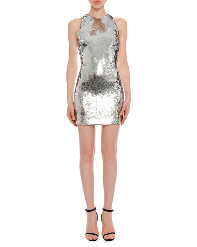 High-Neck Sleeveless Sequined Mini Cocktail Dress