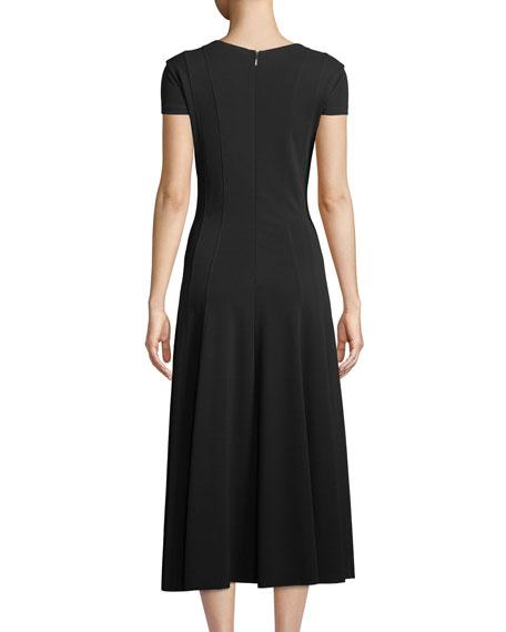 Ninfa V-Neck Short-Sleeve A-Line Tea-Length Dress