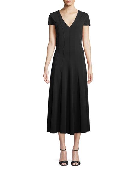 Ninfa V-Neck Short-Sleeve A-Line Tea-Length Dress in Black