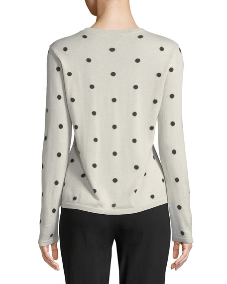 Simpaty Crewneck Polka-Dot Silk-Cashmere Sweater