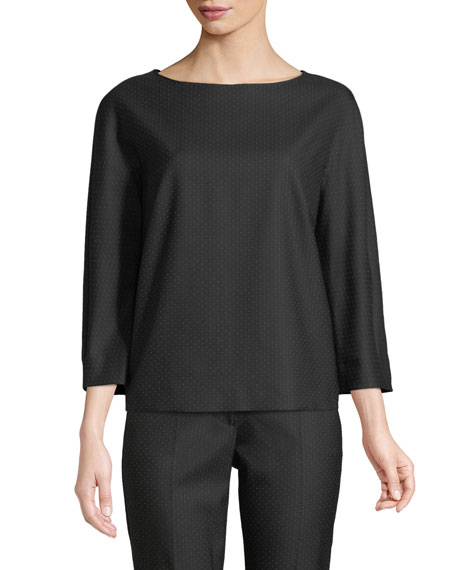 Image 1 of 1: Nectar Boat-Neck Long-Sleeve Wool-Silk Blouse