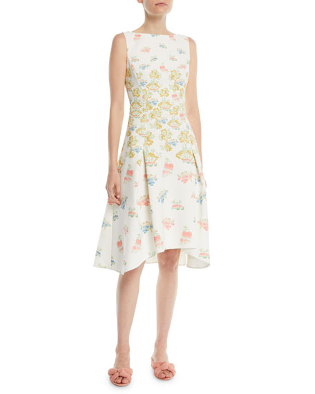 Sleeveless Fig-Tree Print Fit-and-Flare Dress