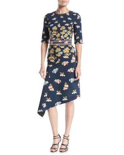Elbow-Sleeve Crewneck Fig-Tree Print Dress w/ Asymmetric Hem