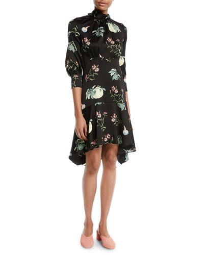 High-Neck 3/4-Sleeve Floral-Print Silk Dress